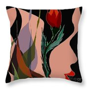 Twin Fire Flower Head 2 Throw Pillow by Navo Art