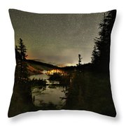 Twin Lakes Night Panorama Throw Pillow