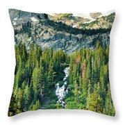 Twin Lakes Waterfall Throw Pillow