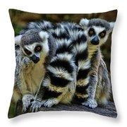 Twin Lemurs Throw Pillow
