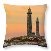 Twin Lights With Morning Glow Throw Pillow