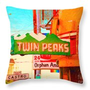 Twin Peaks Gay Bar In San Francisco . Painterly Style Throw Pillow