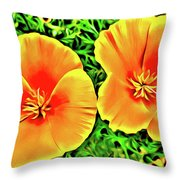 Twin Poppies Throw Pillow