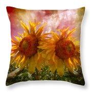 Twin Sunflowers Throw Pillow