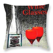 Twink Wine Glasses Throw Pillow