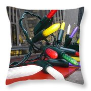 Twinkle Lights In New York City Throw Pillow