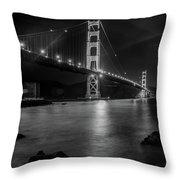 Twinkling Golden Gate Bridge Black And White Throw Pillow