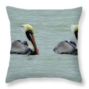 Twins Brown Pelican In Gulf Of Mexico Throw Pillow