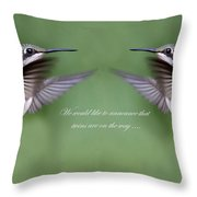 Twins Card - Hummingbirds Throw Pillow