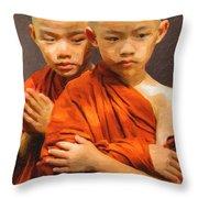 Twins In Orange Throw Pillow