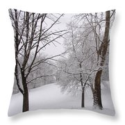 Twins Trees In The Snow Throw Pillow