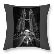 Twintowers At Night Throw Pillow