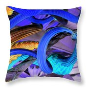 Twisted Blue Throw Pillow
