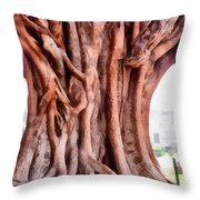 Twisted Gnarled Tree Throw Pillow