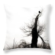 Twisted Tree With Snow Crow Throw Pillow