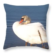 Twisted  White Swan Throw Pillow