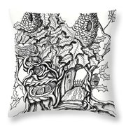 Twisted Willow Fairy House With Oak Leave Roof Throw Pillow