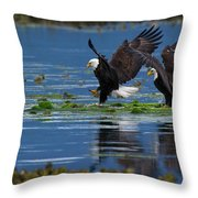 Two American Bald Eagle Touching Down At Low Tide Throw Pillow