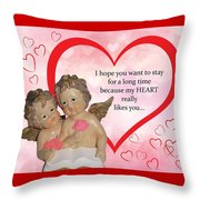 Two Angels And The Heart Throw Pillow