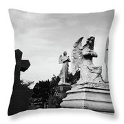 Two Angels Joseph, Jesus And A Bold Cross In A Cemetery Throw Pillow