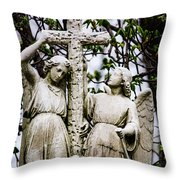 Two Angels With Cross Throw Pillow