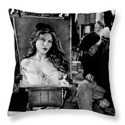 Two Artist Playing Chess At Place Du Tar Ter Throw Pillow