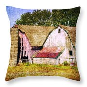 Two Barns And A Silo Throw Pillow