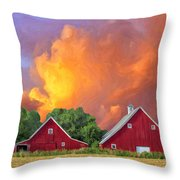 Two Barns At Sunset Throw Pillow