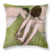 Two Bathers On The Grass Throw Pillow