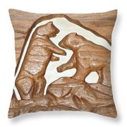 Two Bears Playing Poker Throw Pillow