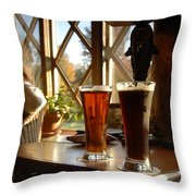 Two Beers At The Lodge Throw Pillow