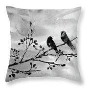 Two Birds-black Throw Pillow