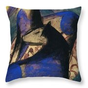 Two Blue Horses 1913 Throw Pillow