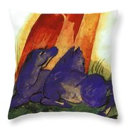 Two Blue Horses In Front Of A Red Roc 1913 Throw Pillow