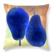 Two Blue Pears On Peach  Side By Side Throw Pillow