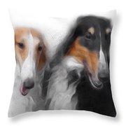 Two Borzois No 01 Throw Pillow
