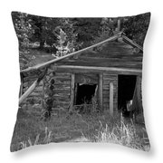 Two Cabins One Outhouse Throw Pillow