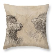 Two Camel Heads [recto] Throw Pillow