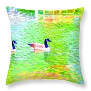 Two Canadian Geese In The Water Throw Pillow