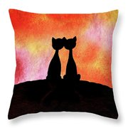 Two Cats And Sunset Silhouette Throw Pillow