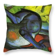 Two Cats Blue And Yellow 1912 Throw Pillow