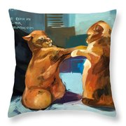 Two Cats Playing Throw Pillow