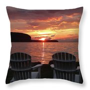 Two Chair Sunset Throw Pillow