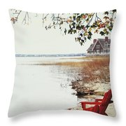 Two Chairs By The Lake's Edge In Autumn Throw Pillow