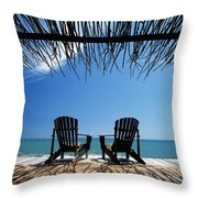 Two Chairs On Deck By Ocean Shaded By Throw Pillow