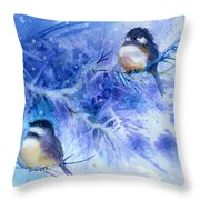 Two Chickadees In Snow Throw Pillow