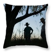 Two Children In Cowboy Hats Throw Pillow