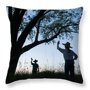 Two Children In Cowboy Hats Wave Throw Pillow