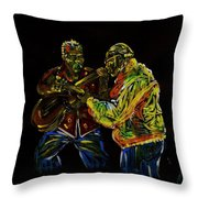 Two Classical Guitar Players  Throw Pillow