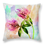 Two Clover Flowers With Pastel Shades. Throw Pillow